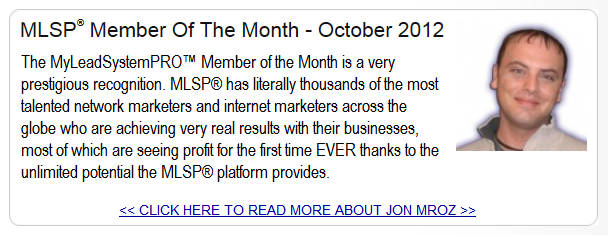 my lead system pro member of the month jon mroz
